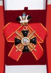 Крест ордена Святой Анны 1 ст. (с мечами, с короной, чёрной эмали)