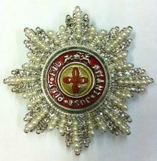 Звезда ордена Святой Анны (с хрусталем и жемчугом swarovski)