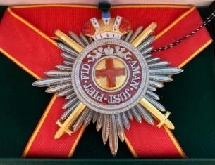 Звезда ордена Святой Анны лучевая (с мечами, с короной)