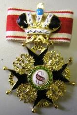 Крест  ордена Святого Станислава 1 ст. (с короной, чёрной эмали)