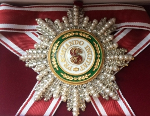 Звезда ордена Святого Станислава (с хрусталем и жемчугом swarovski)